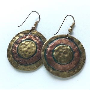 Vintage Copper Brass Hammered Disc Earrings